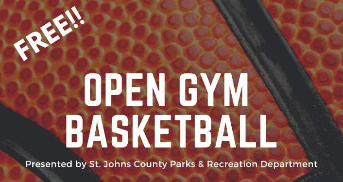 "White text ""Free Open Gym Basketball"" on basketball background"