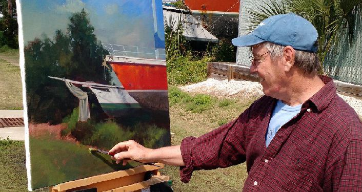artist plein air painting at the old shipyards