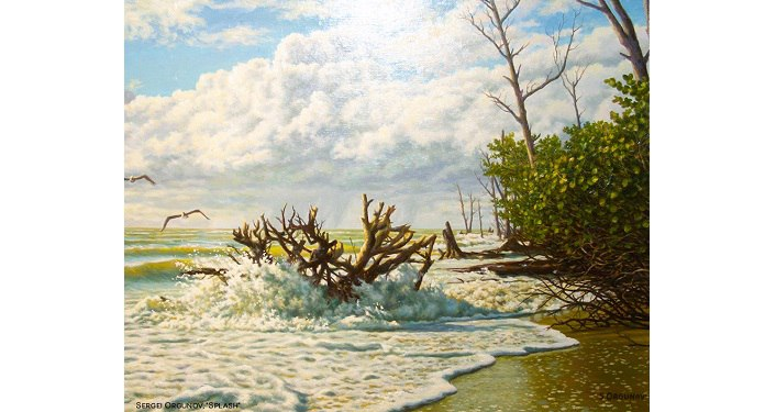Splash..painting by Sergei Orgunov. waves washing over drfitwood on the shore.