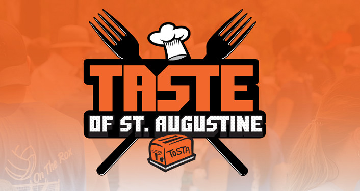 "Crossed forks with text overtop ""Taste of St Augustine"", orange background"