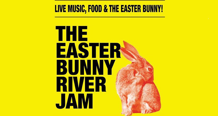 black text on yellow background; The Easter Bunny River Jam...Live Music, Food, & The Easter Bunny...with an orange colored bunny
