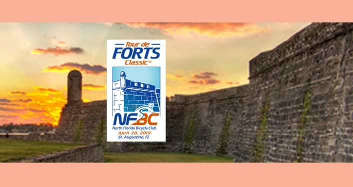 Silhouette of Castillo at sunset with orangeish clouds in sky with Tour de Fort Classic imposed over it.