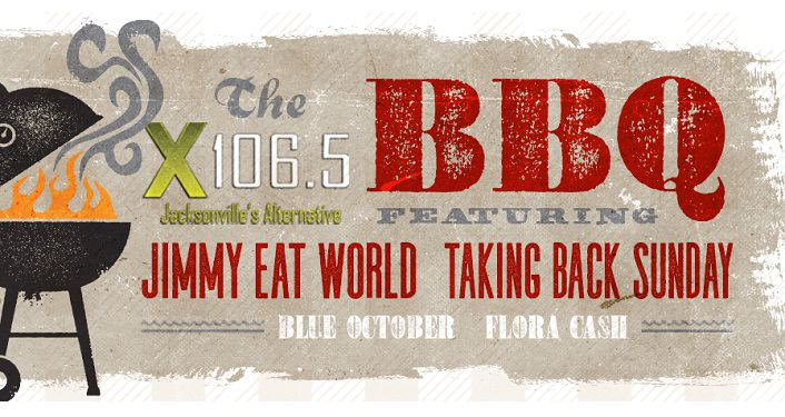 "Text, "" X106.5 will host its' BBQ featuring Jimmy Eat World and Taking Back Sunday, with Blue October and Flora Cash"