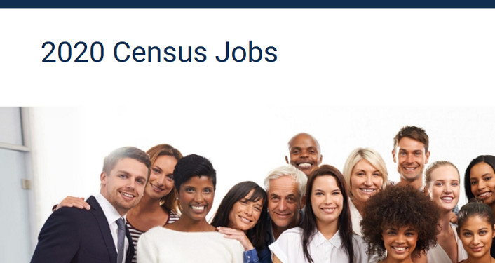 Image of several people with text, 2020 Census Jobs
