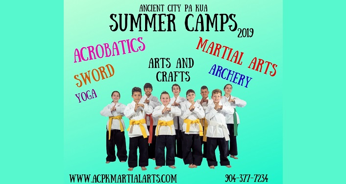 "Text ""Anicent City Pa Kua Summer Camps 2019"" along with Marital Arts, Archery, Arts and Crafts"". Also several young men and women in martial art clothing"