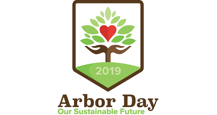 "text on white background ""Arbor Day Event - Our Sustainable Future"", image of tree with heart in center"