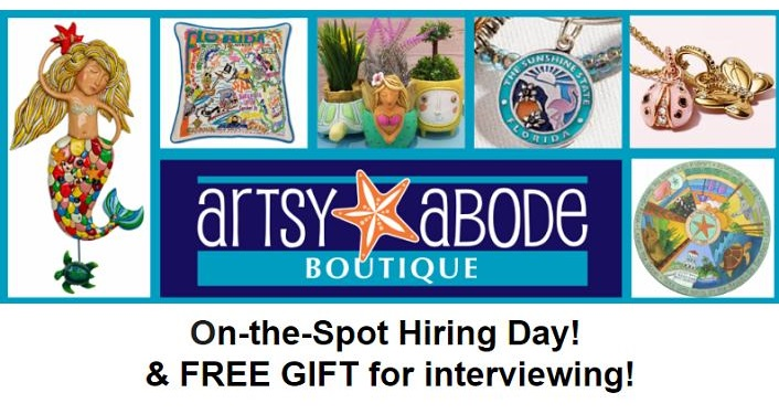 Text about Artsy Abode having on the spot Hiring, Free gift for interview