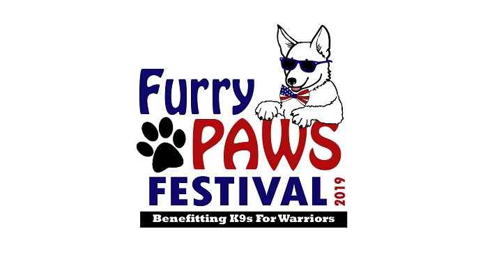 cartoon image of dog with sunglasses on and bow tie; text Furry Paws Festival 2019
