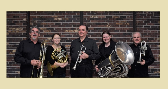Image of Gainesville Brass Quintet holding their instruments.