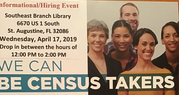 Text about Hiring Event 2020 Census Takers with date and time; image of men and women
