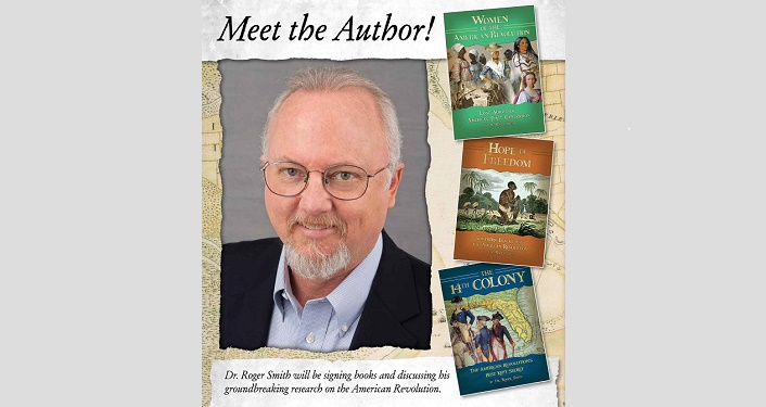 "image of Dr. Roger Smith with text ""Meet the Author!"" as well as images of 3 books that he's written and will have at the Local Author Book Signing"
