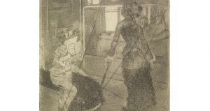 Mary Cassat at the Louvre by Degas