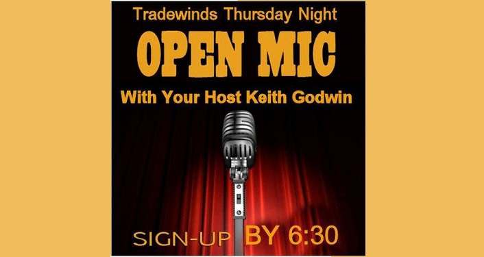 Image of microphone with text Open Mic with your host Keith Godwin