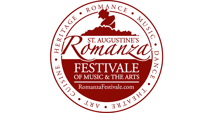 St. Augustine's Romanza Festivale of the Arts 2019; white background with dark maroon text