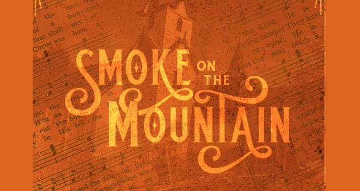 "Words ""Smoke on the Mountain"" in orange against a darker orange"