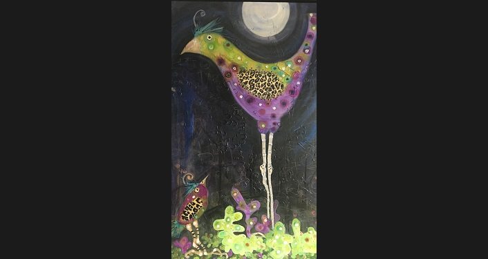 Painting by Laura O'Neal entilted Solstice; a bird, purple and green, with moon in background
