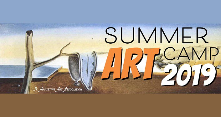 text, St. Augustine Art Association Summer Art Camp 2019, with Dali like image of click draped over tree limb.