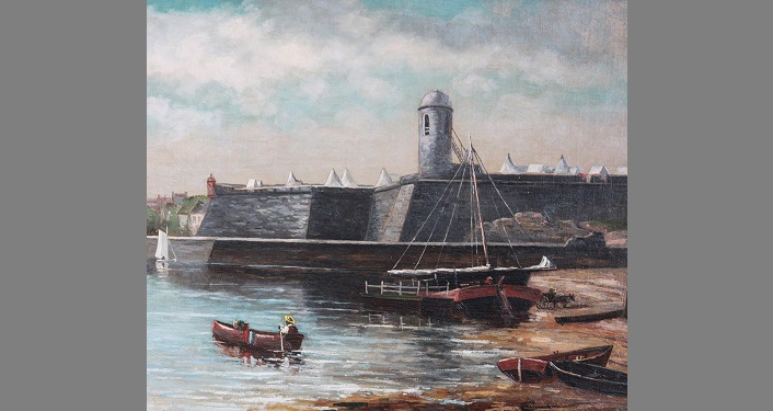Tiberio Collection Painting - old stone fortress like the Castillo with rowboat in the water