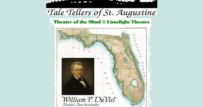 Image of William P. Duval, Florida's first storytelleralongside map of Florida