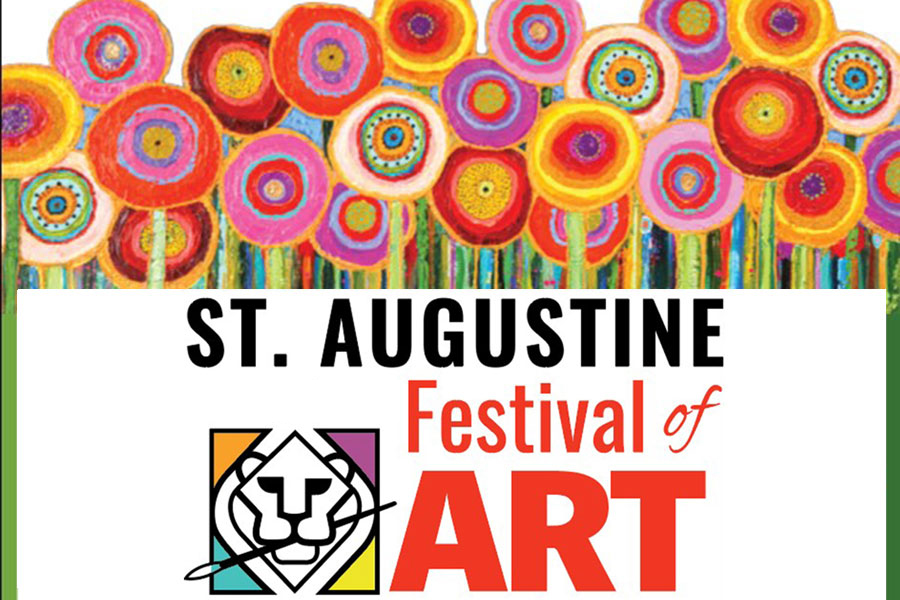 Image contains a logo which is a lion with a paint brush in his mouth, text - St. Augustine Festival of Art, and brightly painted flowers.