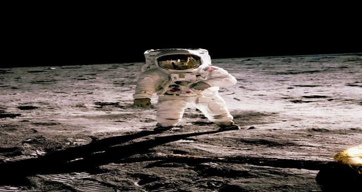 image of first man on the moon