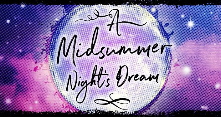 Caricature of the moon with text across it's face, A Midsummer Night's Dream. Purple-ish, pink background