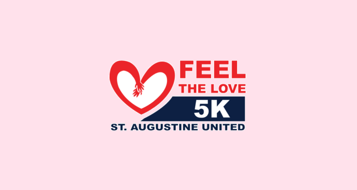 "Text ""Feel The Love"" in red, 5K St. Augustine United with image of red hands linking to form heart"