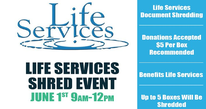 text; Life Services of St Augustine Shred Event, June 1st 9am-12pm
