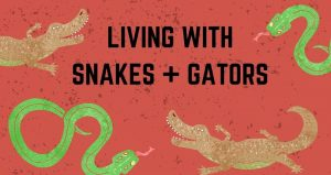 caricature image of 2 green snakes and 2 brown gators, red background with text; Living With Snakes & Gators