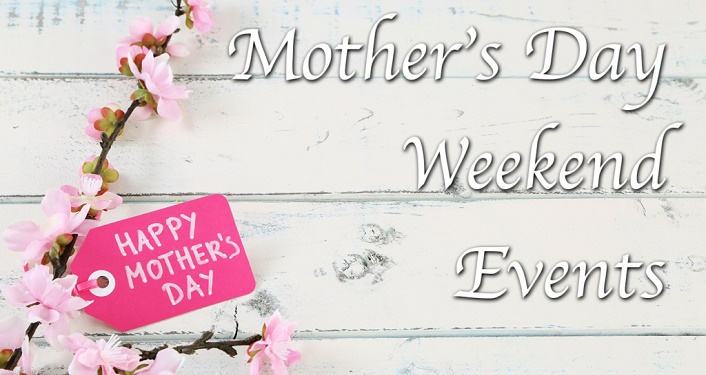 """text, """"Mother'd Day Weekend Events"""" along with a sprig of pink flowers"""