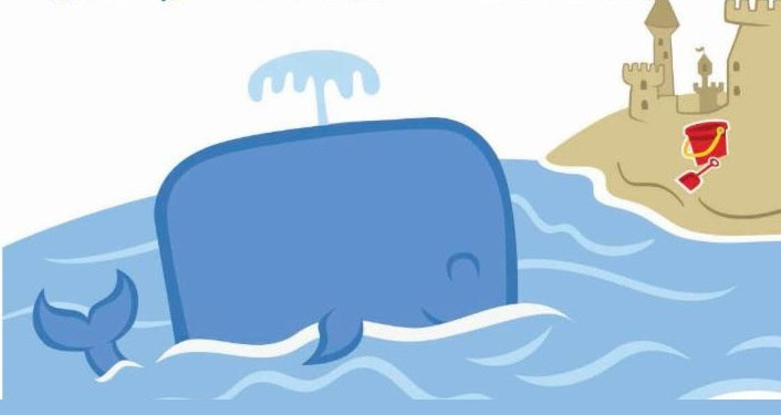 Cartoon image of whale and a sandcastle, for National Kids to Parks Day Coquina Beach Walk
