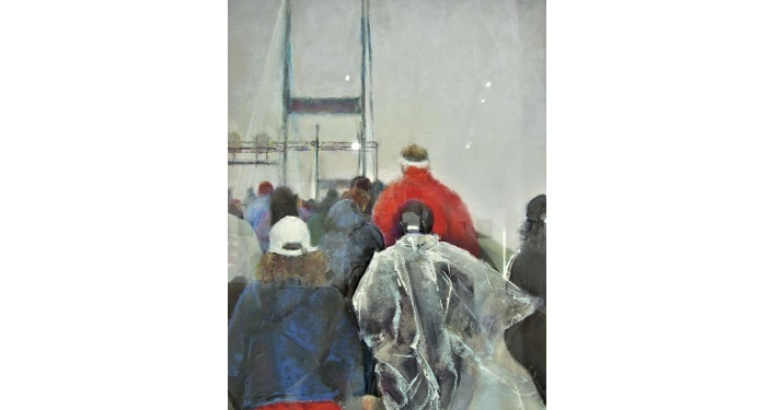 pastel showing people in the ran walking towards bridge, in the First Coast Pastel Society Member Show