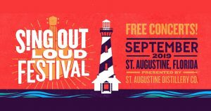 Image of lighthouse, red background, text in white to left Sing Out Loud Festival, text to right in gold Free Concerts, in navy blue September 2019 St. Augustine