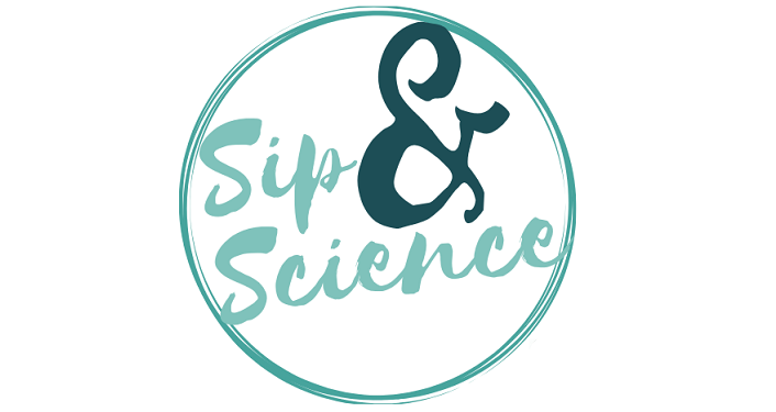Text Sip & Science in teal blue on white background