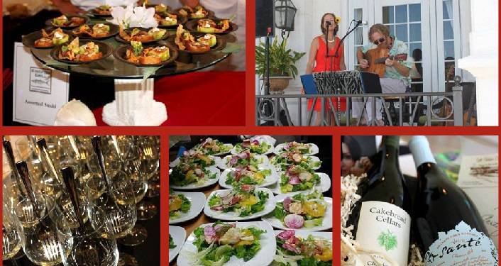 collage of images; wine glasses, plates of food, man & woman singing, plates of shrink, two bottle of wine for the SAiRA Food & Wine Festival