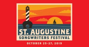 red background with caricature of lighthouse and settingsun; text - St. Augustine Songwriters Festival, October 25-27, 2019