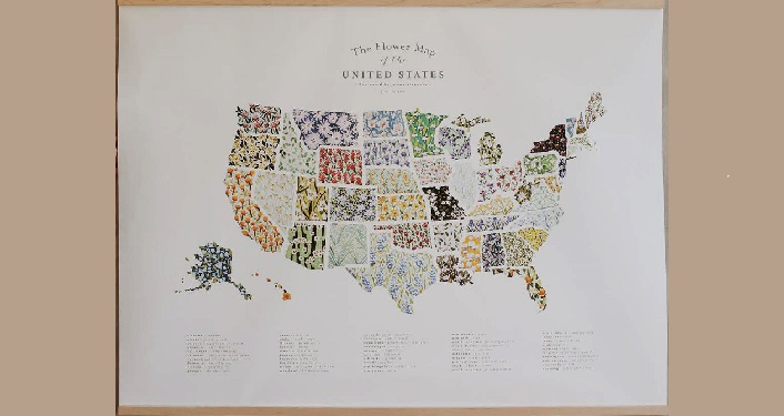 image of artwork, Flower Map of the United States by Jenna Alexander