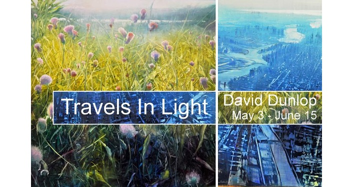 Artwork by David Dunlop with text Travels in Light, David Dunlop, May 3 - June 15, 2019