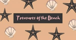 "text ""Treasures of the Beach"" framed by starfish and shells"