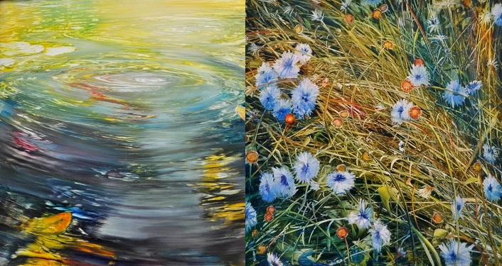 two paintings by David Dunlop, Water Circles and A Closer Look, part of his Travels by Light exhibit