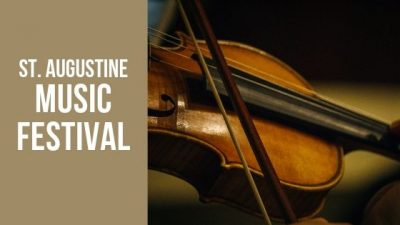 "This image includes a person playing a violin and text that reads ""St. Augustine Music Festival""."