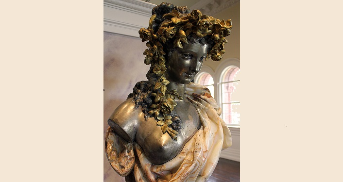image of Allegory of Spring (statue with leave wreath on her head, semi-drapped material over her left shoulder; 19th Century Art seen during Lightner Museum Educator's Tour