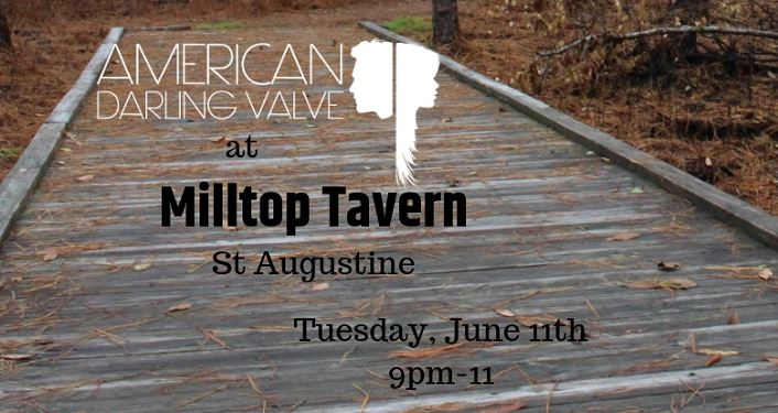 Text American Darling Valve at Milltop Tavern imposed on image of wooden boardwalk in a park with leaves on the ground.