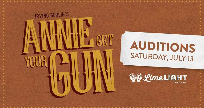 Text in gold with tan background, Auditions for Annie Get Your Gun