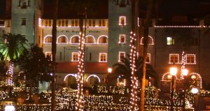 image of Lightner Museum decorate with tiny white lights during Nights of Lights Display