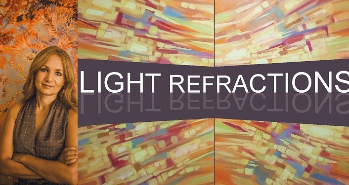 image of local artisit Anna Miller on the left; on right is text Light Refractions, her solo exhibition