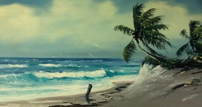 image of Painting by one of the Florida Highwaymen, beach with waves rolling in, plam tree sticking out of the sand.