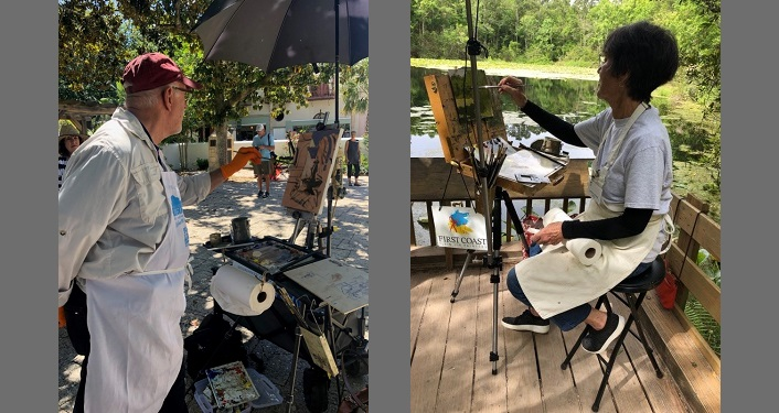 two image, left-sde is a man standing outside painting on an easel, right-side is a woman sitting outside painting on an easel; Plein Air Painting