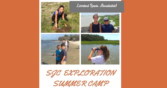 collage of 4 images taken during SJC Exploration Summer Camp; kids on the shoreline, kids in the water, girl holding binoculars.