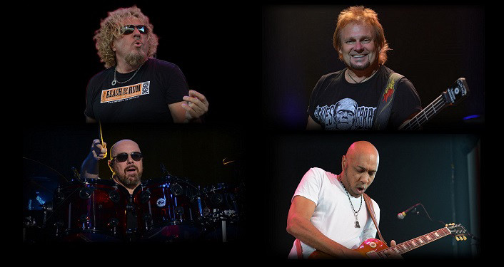 press photo of Sammy Hagar & The Circle ; collage with black background with each musician either playing instrument or singing